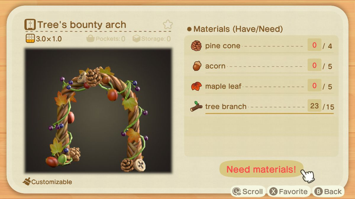 A recipe list for a Tree's Bounty Arch