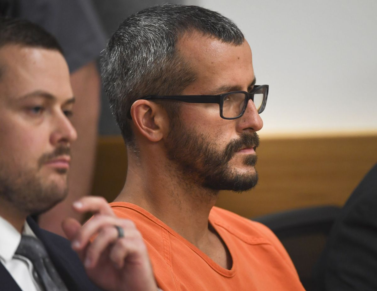Chris Watts at an arraignment hearing in Weld County, Colorado, in August 2018.