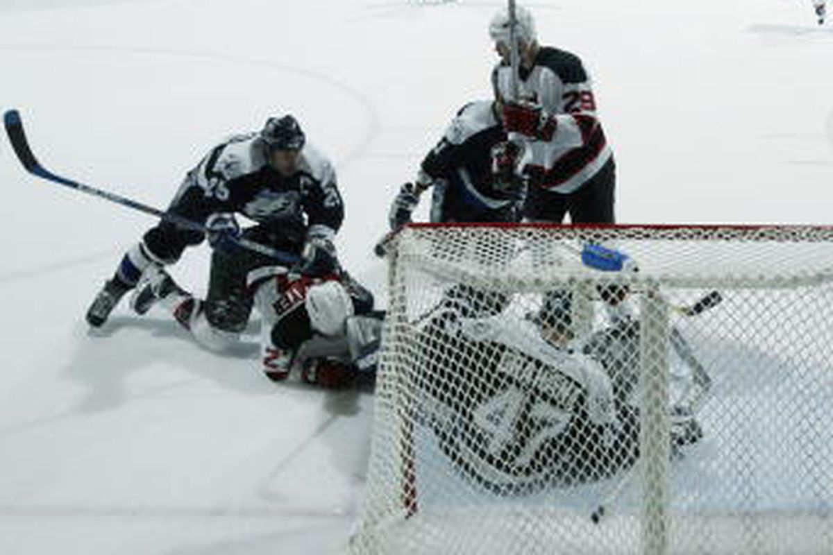 John Grahame (47) got the start over Nikolai Khabibulin in Game 5 of the 2003 Eastern Conference Semifinal matchup between the Lightning and New Jersey Devils