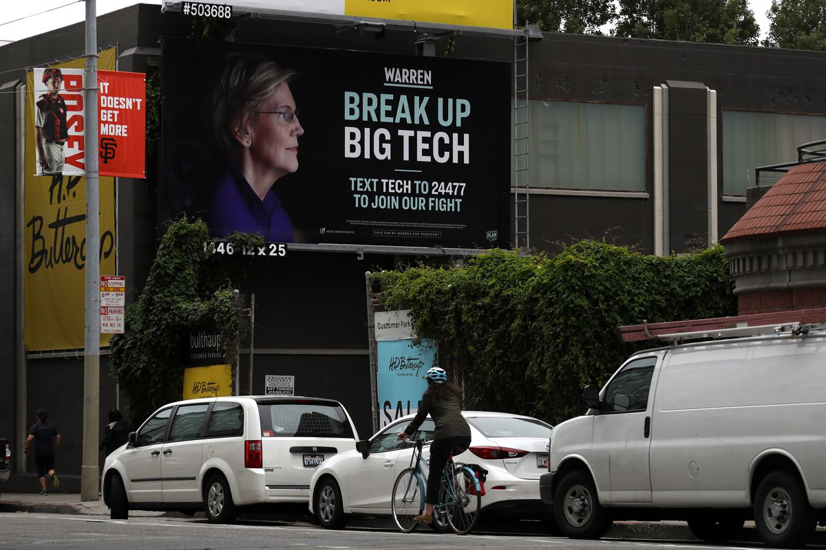 "Elizabeth Warren campaign billboard in San Francisco on May 30, 2019, reading, ""Break up big tech."""