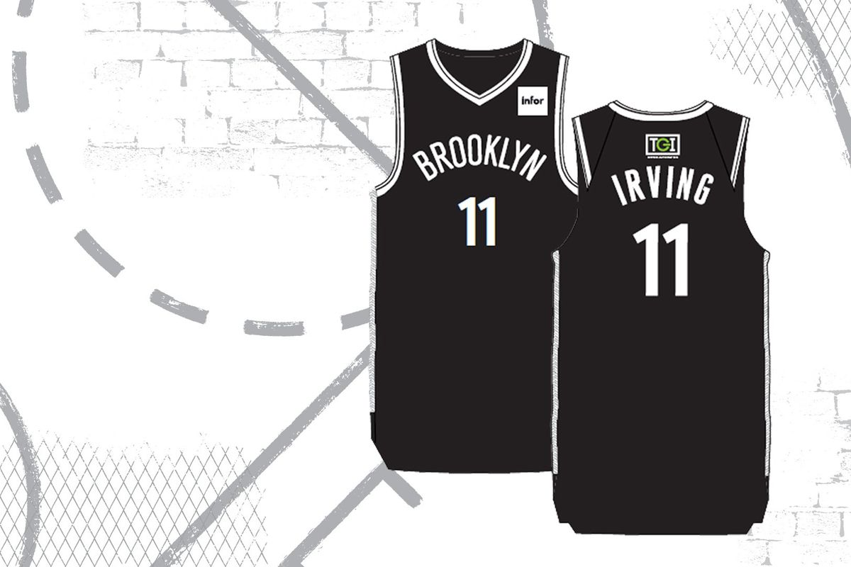 super popular 6e9bd b0cd5 Nets trolling Knicks with Kyrie Irving jersey giveaway at ...