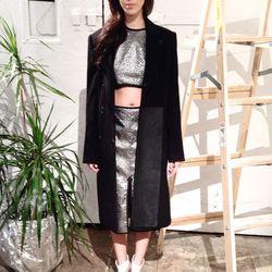Nomia brocade top, $80 (was $250); Nomia brocade skirt, $118.40 (was $370); Harbison blocked overcoat, $235 (was $1175)