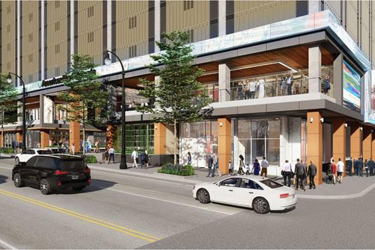 A planned new face for the northeast corner of Peachtree Street and John Portman Boulevard.