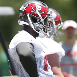 Kadeem Edwards wearing black longsleeves is an odd sight at Buccaneers training camp in the heat.