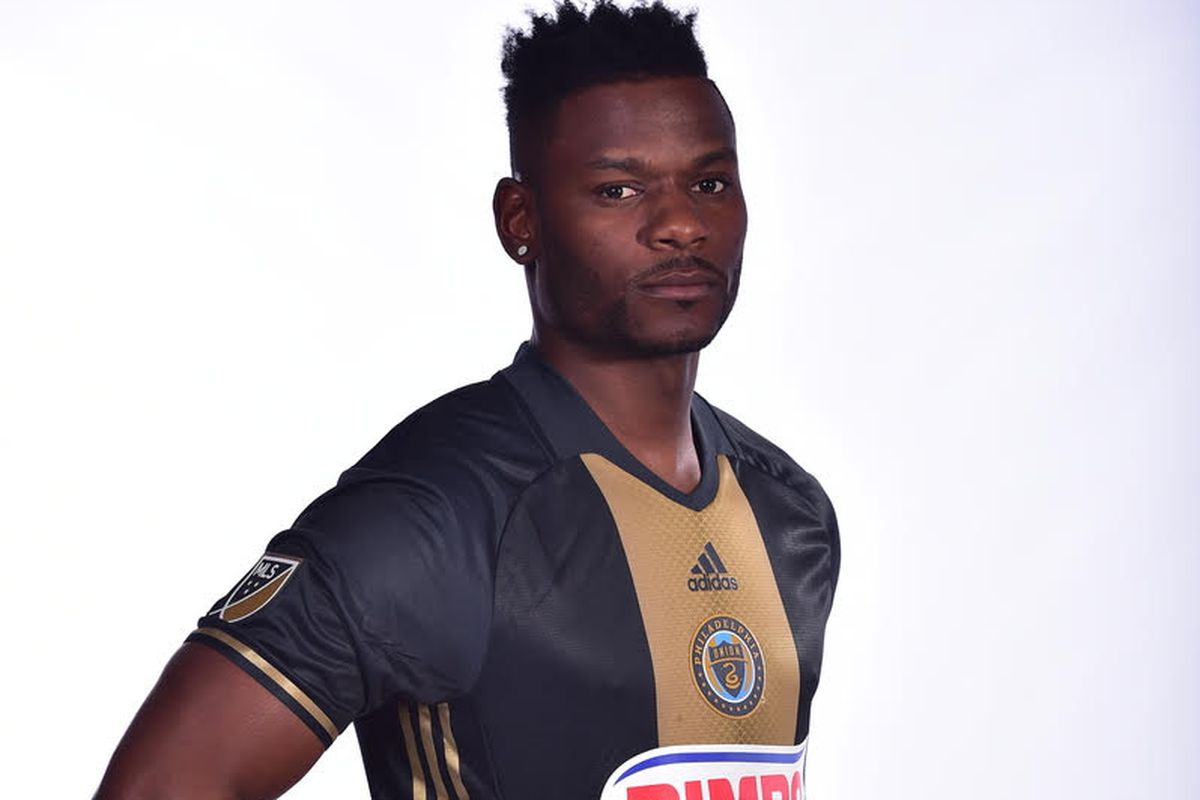 Maurice Edu modeling the club's new primary jersey