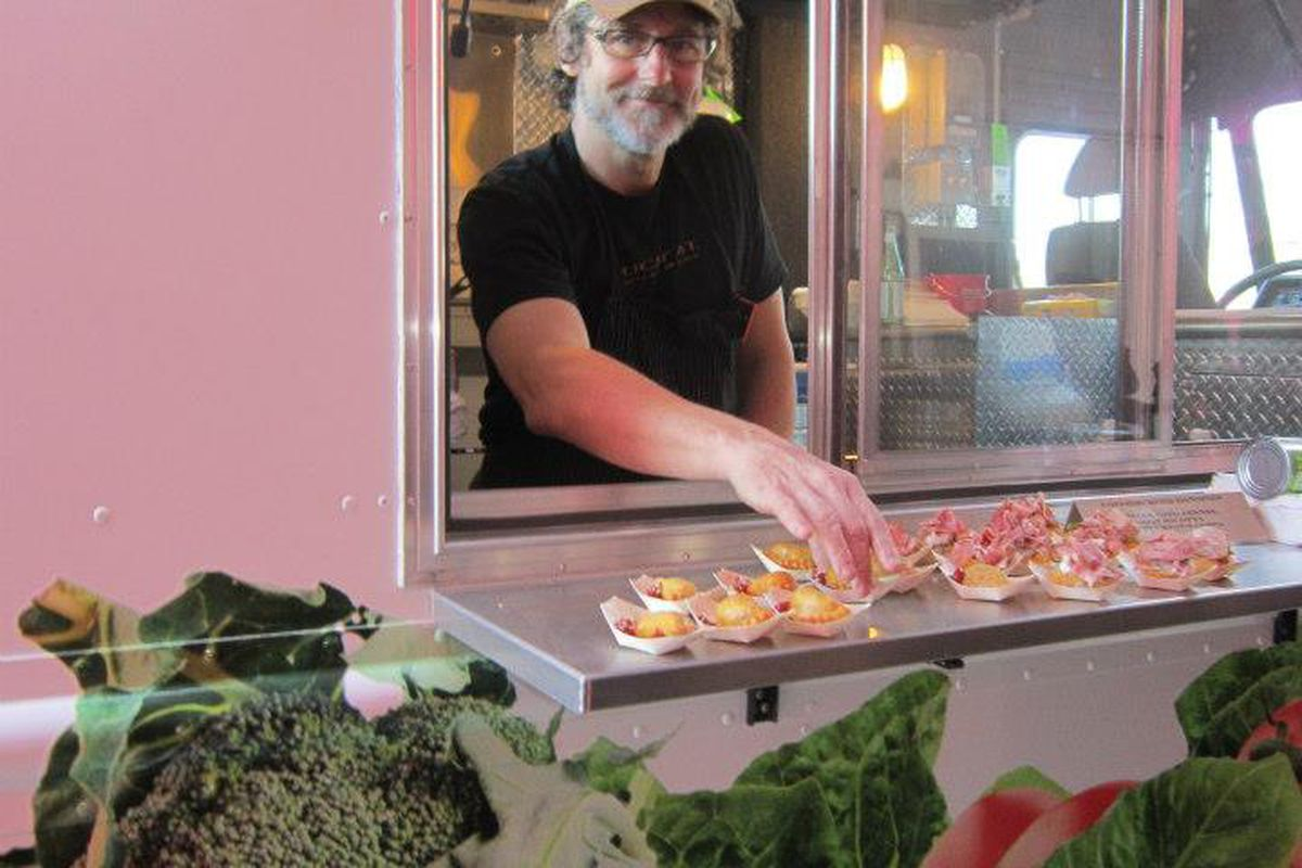 Chef Rob Evans of Duckfat in Portland served from the new Good Shepherd Food Bank food truck last night at the food pantry's JoAnn Pike Humanitarian Award Dinner in Auburn.