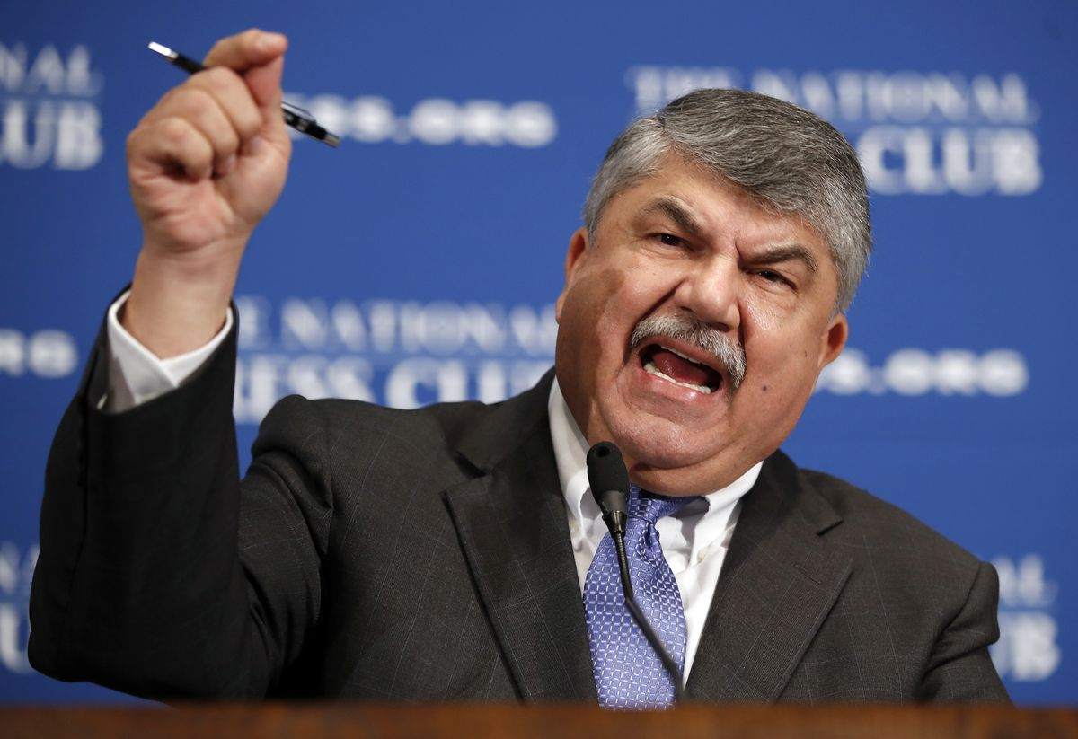 In this April 4, 2017 file photo, AFL-CIO president Richard Trumka speaks at the National Press Club in Washington. The longtime president of the AFL-CIO labor union has died. News of Richard Trumka's death was announced Thursday by President Joe Biden and Senate Majority Leader Chuck Schumer. Trumka was 72 and had been AFL-CIO president since 2009, after serving as the organization's secretary-treasurer for 14 years.