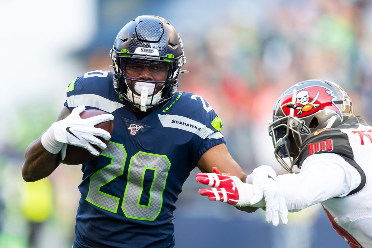 Seattle Seahawks running back Rashaad Penny during the second half at CenturyLink Field. Seattle defeated Tampa Bay 40-34.