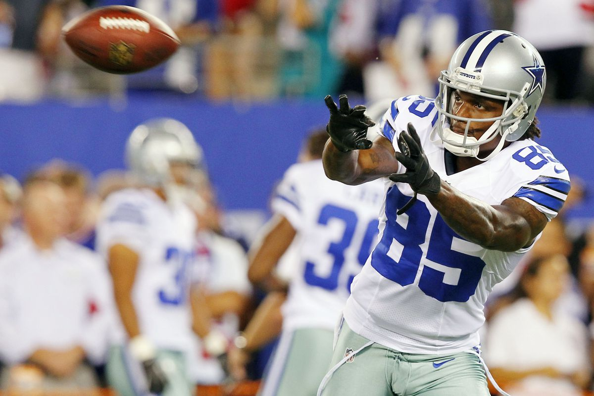 Sep 5, 2012; East Rutherford, NJ, USA;  Dallas Cowboys wide receiver Kevin Ogletree (85) prior to the game against the New York Giants at MetLife Stadium. Mandatory Credit: Jim O'Connor-US PRESSWIRE