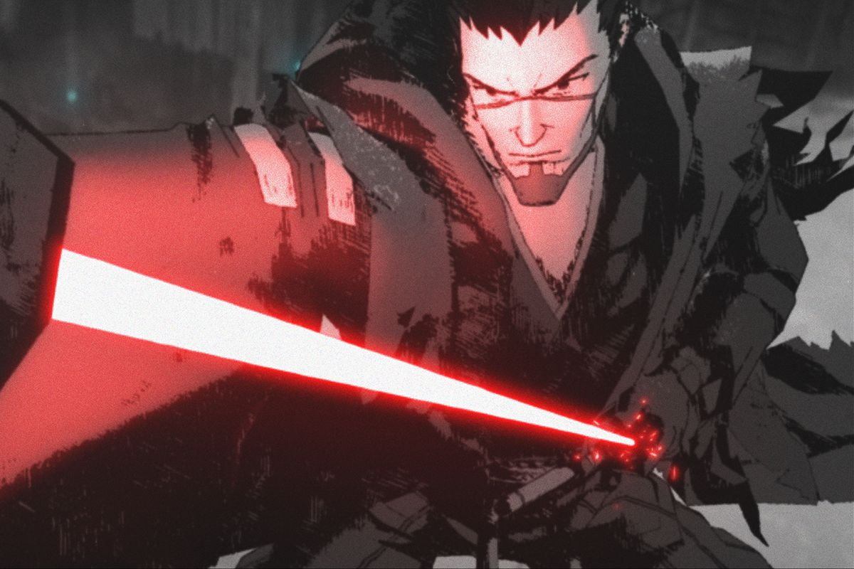 """Ronin in a scene from the """"Star Wars: Visions"""" short, """"The Duel."""""""
