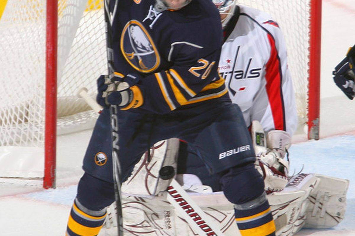 BUFFALO NY - NOVEMBER 13: Rob Niedermayer #20 of the Buffalo Sabres opens his legs to let a shot go through to Braden Holtby #70 of the Washington Capitals at HSBC Arena on November 13 2010 in Buffalo New York.  (Photo by Rick Stewart/Getty Images)
