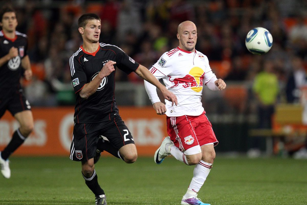 WASHINGTON, DC - APRIL 21: Luke Rodgers #9 of the New York Red Bulls chases the ball against Perry Kitchen #23 of D.C. United at RFK Stadium on April 21, 2011 in Washington, DC. (Photo by Ned Dishman/Getty Images)