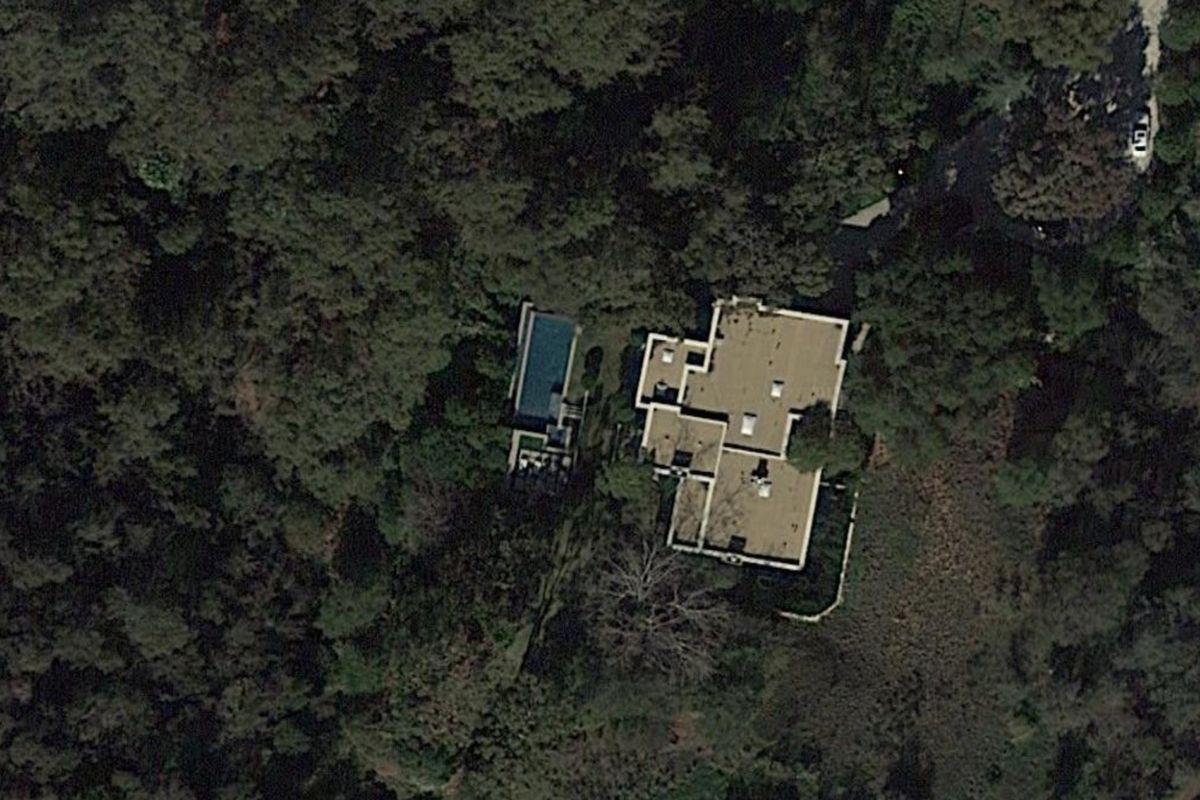Aerial view of home with pool