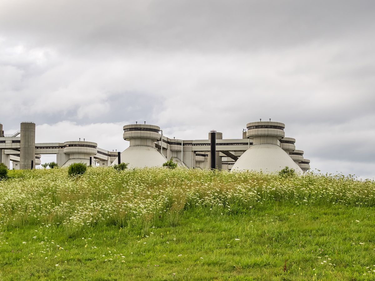 A wide shot of the sewage treatment plant on Deer Island.
