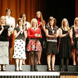Finalists in the dance category take the stage at Cottonwood High School during the Sterling Scholar awards ceremony on Wednesday night.