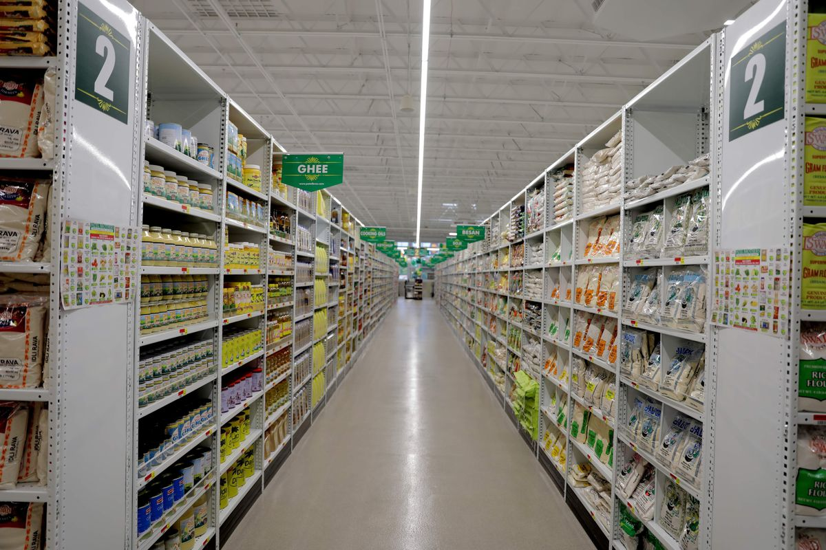 An aisle at a grocery store.