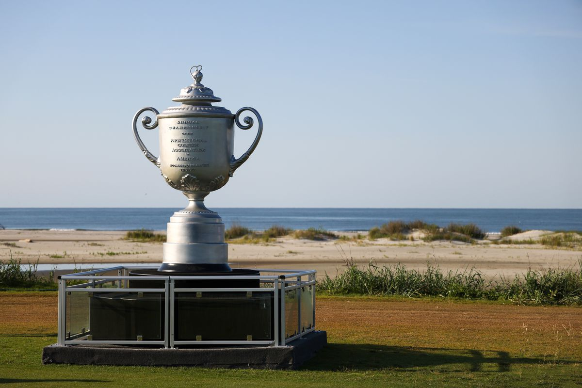 a giant Wanamaker Trophy with the beach behind it at the 2021 PGA Championship at the Ocean Course of Kiawah Island Golf Resort