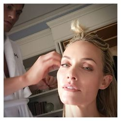 Amber Valletta and her flawless skin in the makeup chair.
