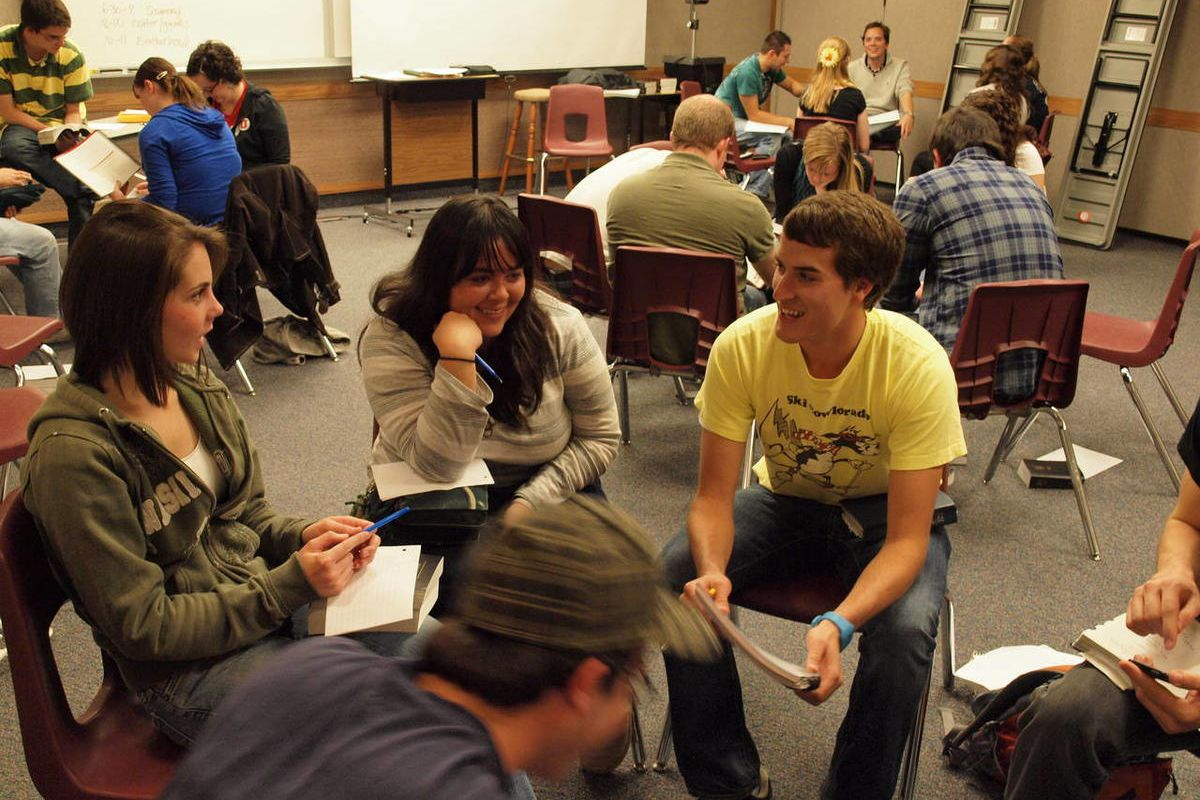 Young single adults participate in an activity during an LDSSA fraternity and sorority activity at the Salt Lake University Institute of Religion.