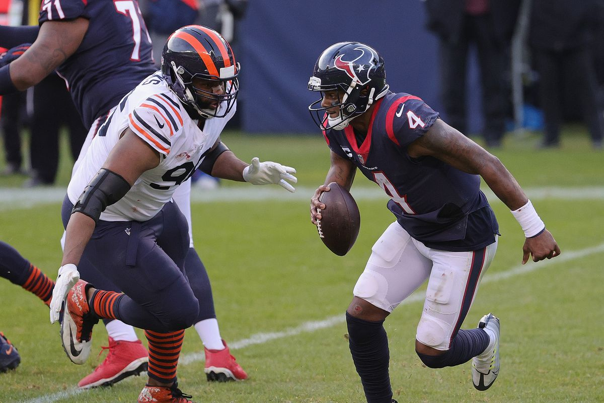 Bears defensive end Akiem Hicks (96, chasing down Texans quarterback Deshaun Watson) has been a leader on and off the field in five seasons with the Bears.