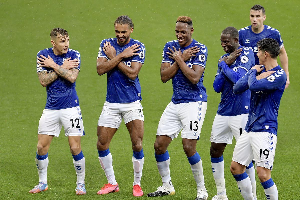 Yerry Mina (13) celebrates his goal with Lucas Digne, Dominic Calvert-Lewin, Abdoulaye Doucoure, Seamus Coleman, and James Rodriguez - Everton - Premier League