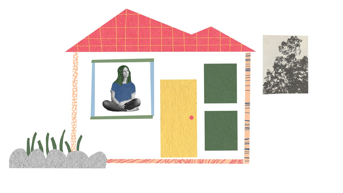 A young woman in a t-shirt and leggings sitting cross-legged in her home. Outside there is a small garden and a collaged newspaper clipping-style image of a tree. Illustration.