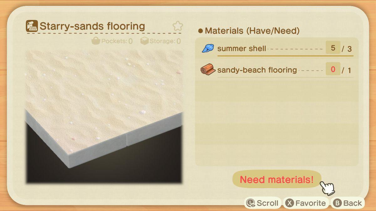 A recipe list for a Starry-sands Flooring