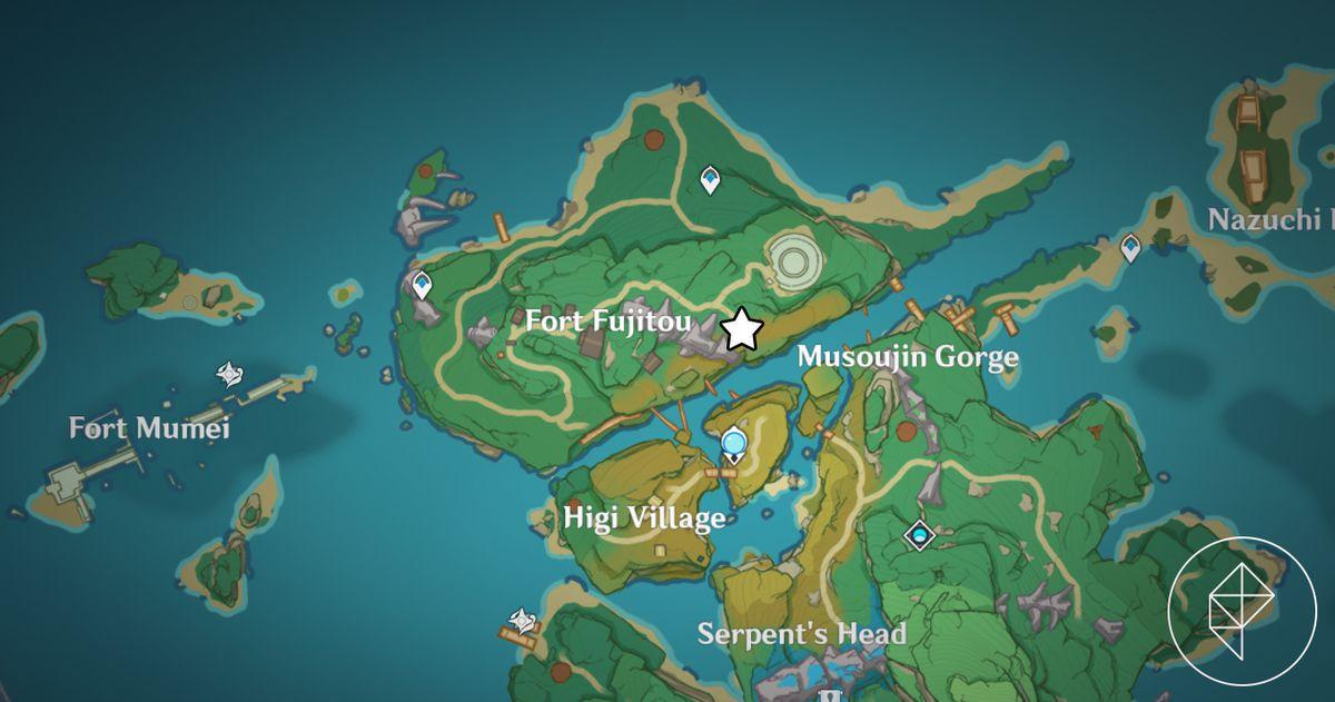 A map showcasing where to find Kaji, an NPC in Genshin Impact
