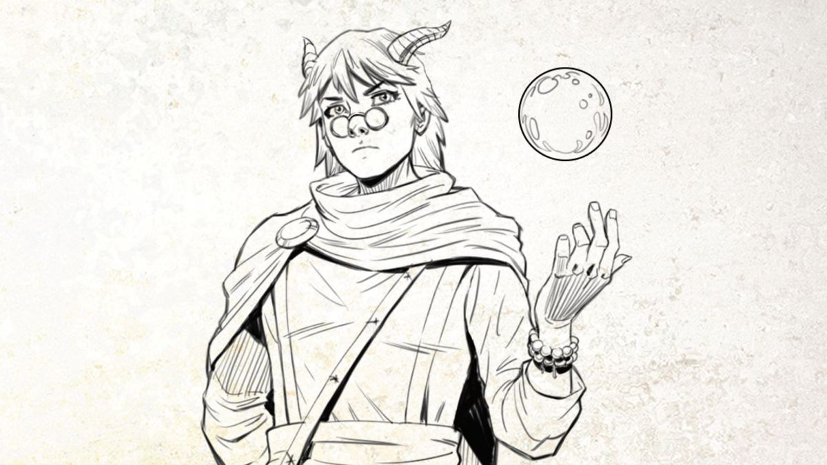 An androgynous D&D character, with the horns of a tiefling and the aquiline features of an elf, tossed a crystal ball in one hand.