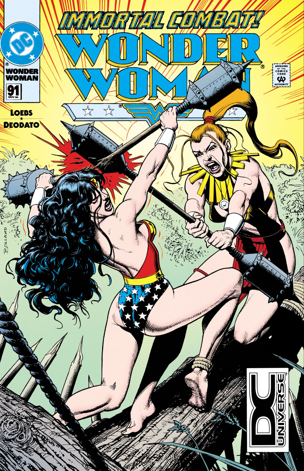 Wonder Woman and Artemis battle in gladiatorial style on the cover of Wonder Woman #91, DC Comics.