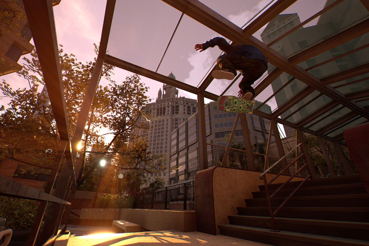 a skater attempts a kickflip while soaring above some steps with the late-afternoon sun in the background in Session