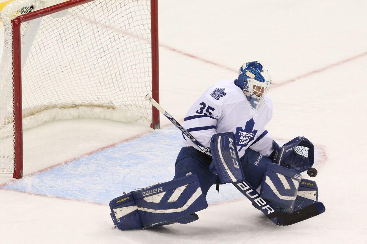 Drew MacIntyre makes a save for the Toronto Maple Leafs last season
