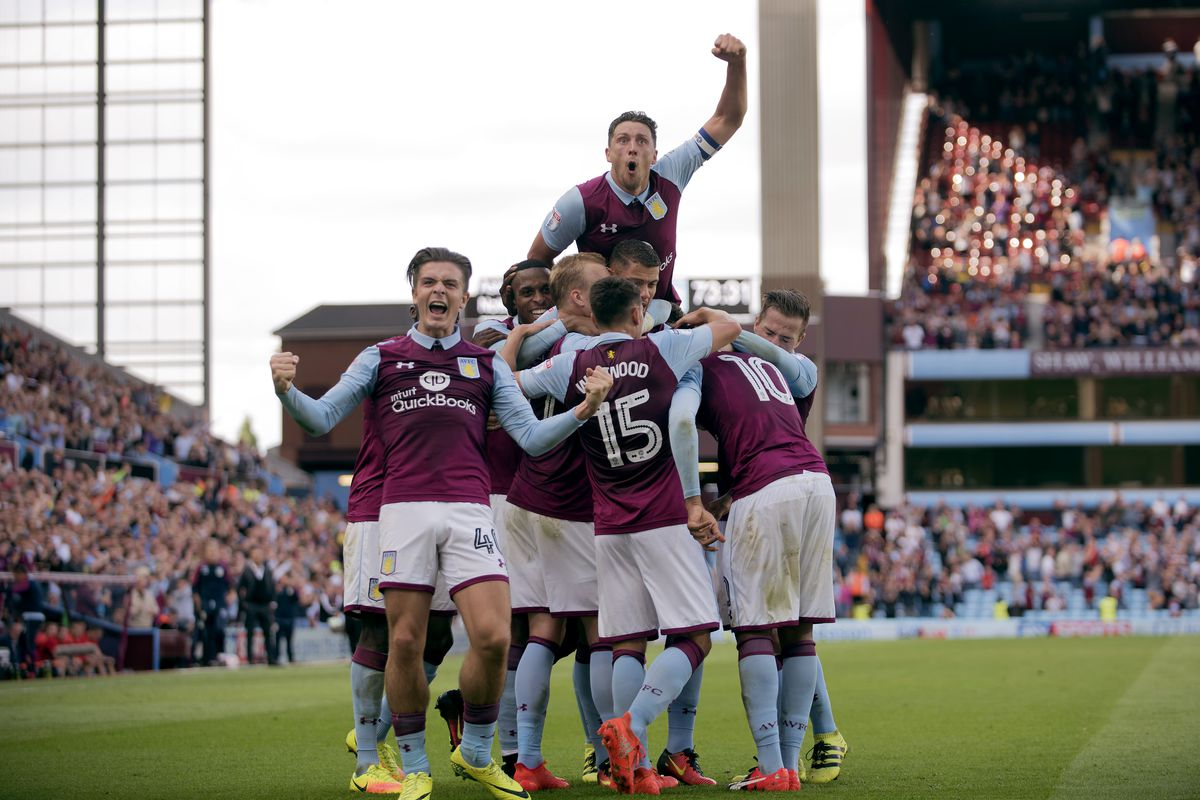 Aston Villa players celebrating against Nottingham, but the Villans need to secure the points before they can cheer this time around.