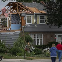 A damaged home on Princeton Circle in Naperville's Ranchview neighborhood Monday, June 21, 2021.  