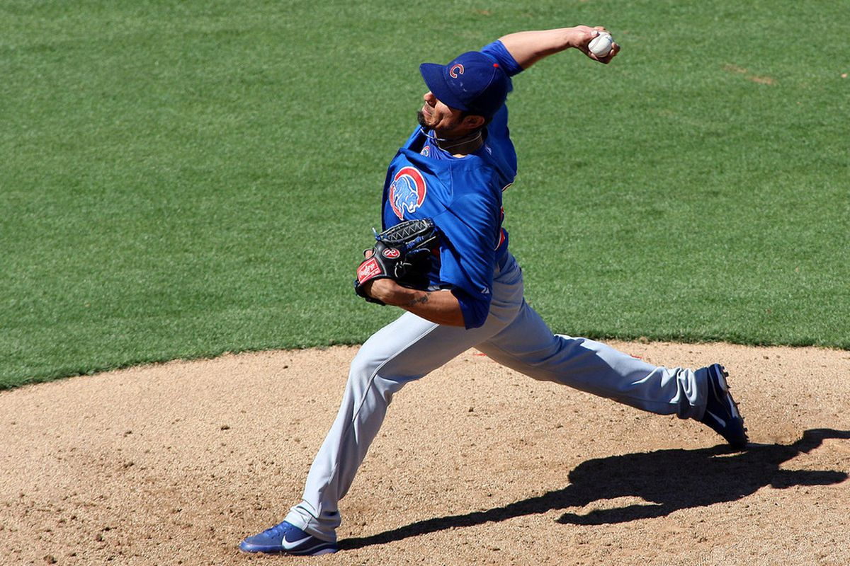 Surprise, AZ, USA; Chicago Cubs starting pitcher Matt Garza pitches during the fifth inning against the Texas Rangers at Surprise Stadium.  Credit: Jake Roth-US PRESSWIRE