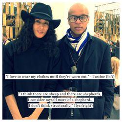 Justine Bracero, Model, Major Models (left) and  Ilya Like, Designer, GONT (right)