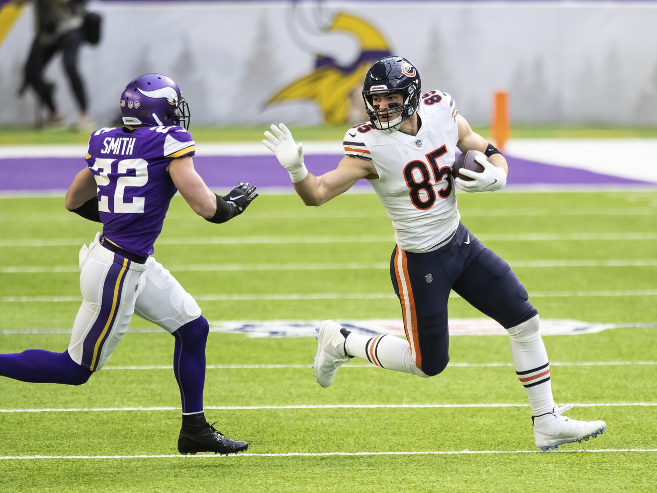 Bears tight end Cole Kmet (85) had 20 receptions for 149 yards and a touchdown in the final five regular-season games of his rookie season in 2020.