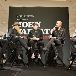 The event included an onstage discussion about fashion and rock.