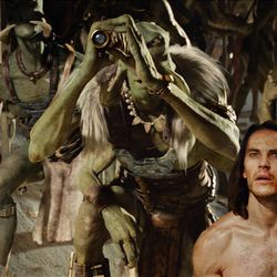 "Willem Dafoe, left, as Tars Tarkas and Taylor Kitsch as John Carter in the science-fiction film ""John Carter."""