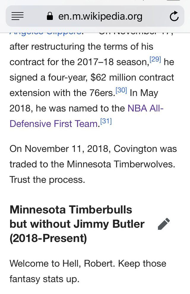 """A photo of Robert Covington's wikipedia page and a paragraph that says """"Welcome to Hell, Robert. Keep those fantasy stats up."""""""