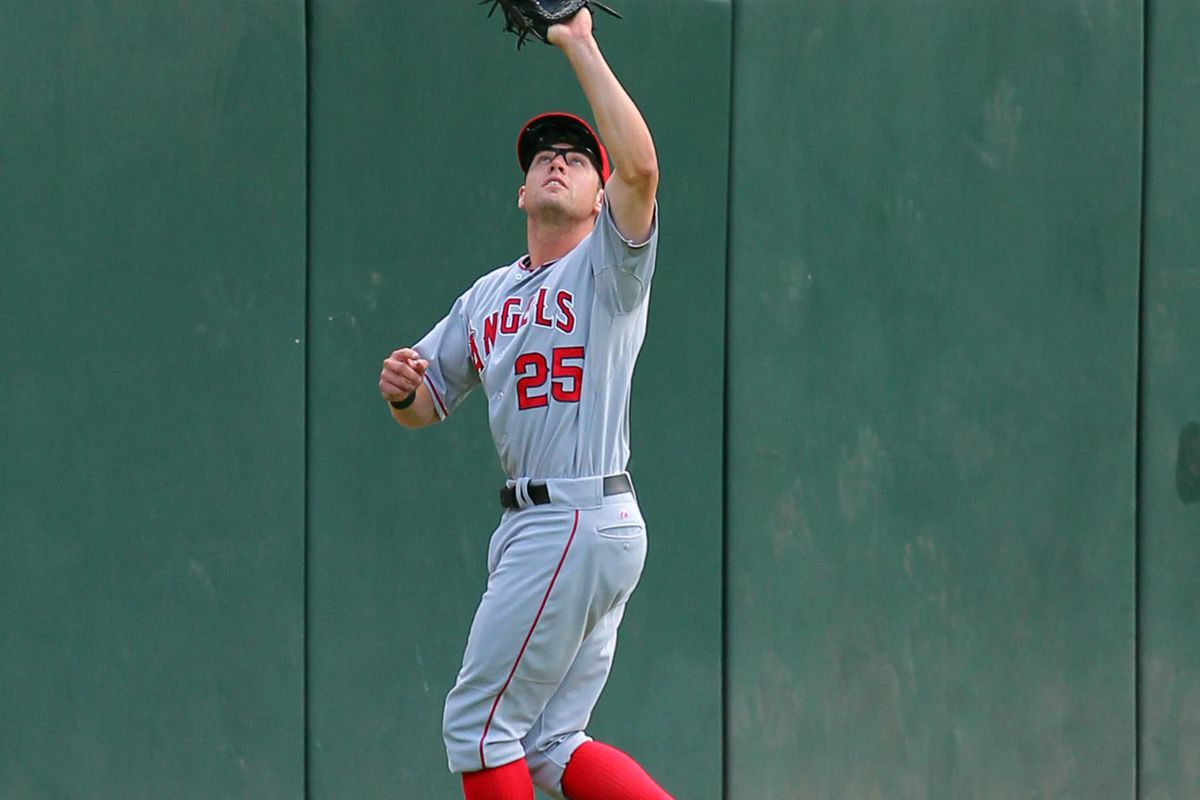 Aug 5, 2012; Chicago, IL, USA; Los Angeles Angels center fielder Peter Bourjos (25) makes a catch during the third inning against the Chicago White Sox at US Cellular Field. Mandatory Credit: Dennis Wierzbicki-US PRESSWIRE