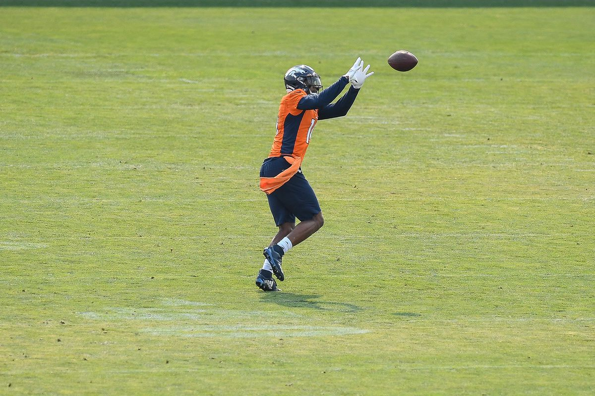 Wide receiver Courtland Sutton of the Denver Broncos participates in a drill during a training session at UCHealth Training Center on August 16, 2020 in Englewood, Colorado.