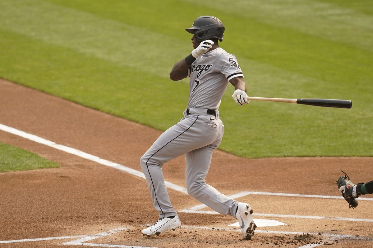Tim Anderson singles against the Oakland Athletics during the first inning of Game 3.