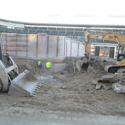 Another view of the excavation work in right field