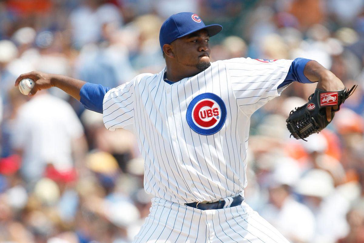 Marcos Mateo of the Chicago Cubs pitches during a game against the San Francisco Giants at Wrigley Field on June 30, 2011 in Chicago, Illinois. Mateo was outstanding in Thursday's game. (Photo by Scott Boehm/Getty Images)