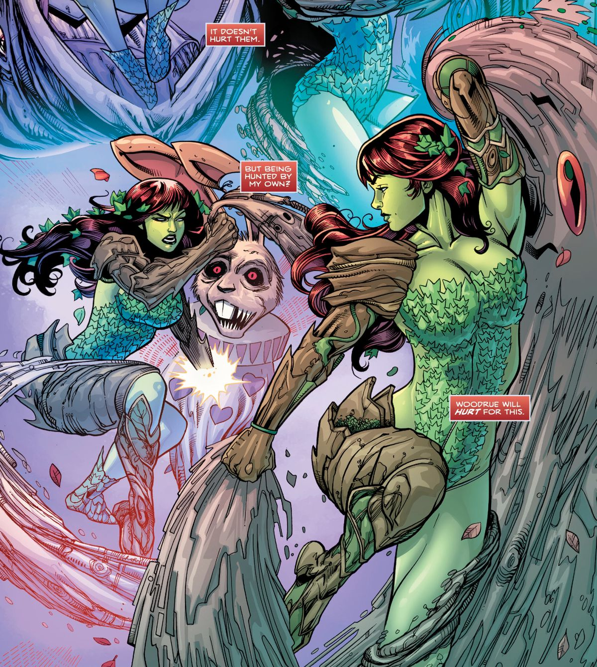 Poison Ivy destroys some plant soldiers in an outift made of ivy leaves and plated wood armor, in Harley Quinn and Poison Ivy #3, DC Comics (2019).