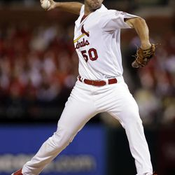 St. Louis Cardinals starting pitcher Adam Wainwright throws during the first inning of a baseball game against the Washington Nationals on Friday, Sept. 28, 2012, in St. Louis.