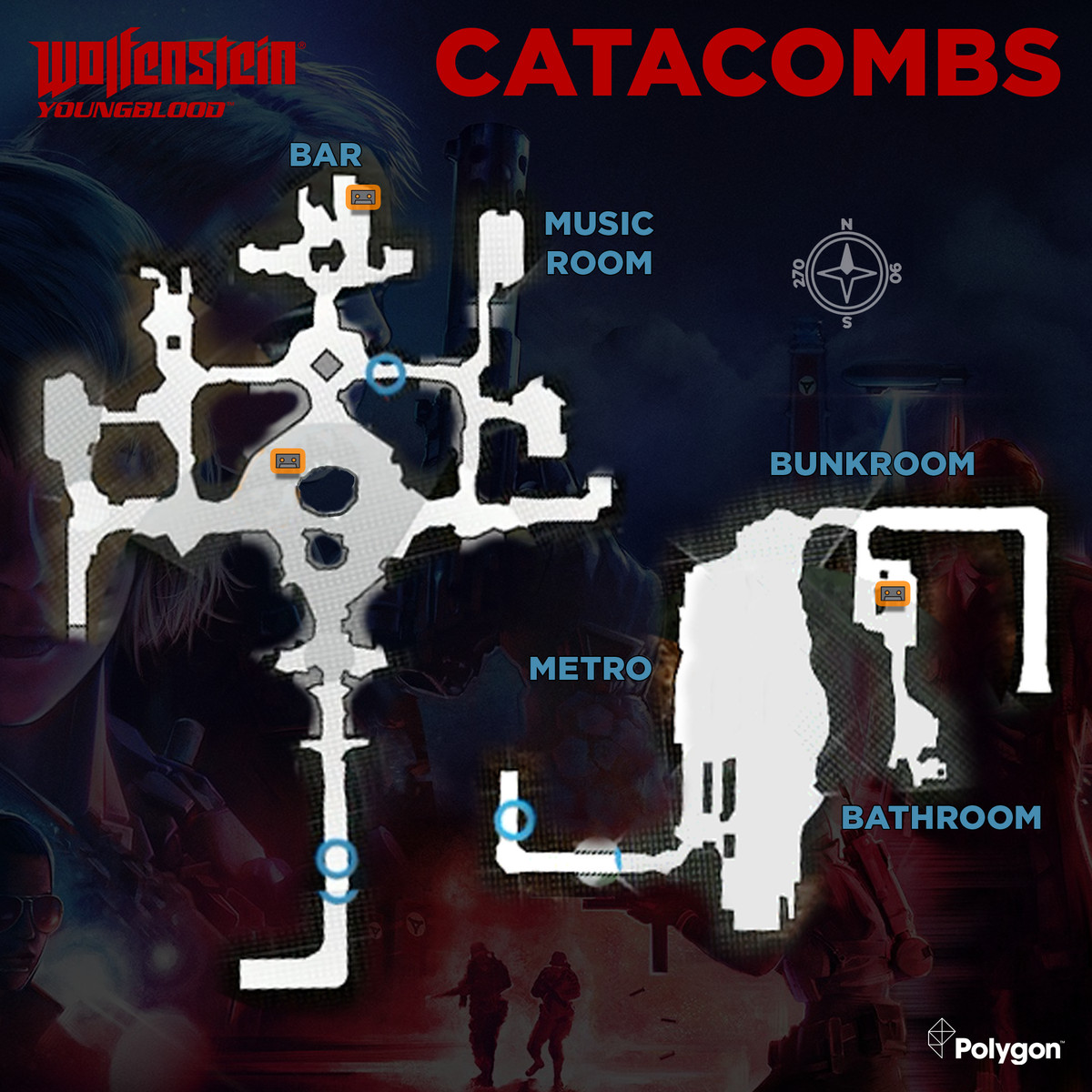 Wolfenstein: Youngblood Catacombs map with Cassette Tapes collectibles