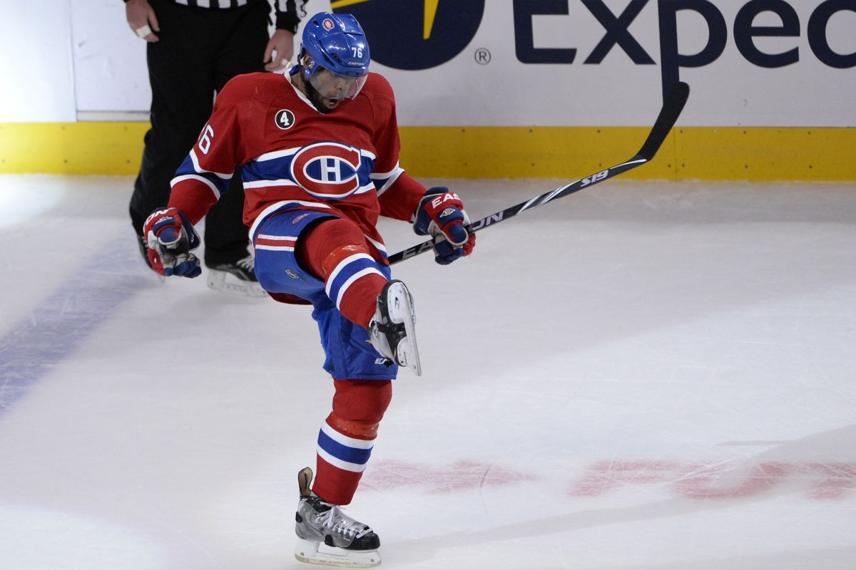 Mar 30, 2015; Montreal, Quebec, CAN; Montreal Canadiens defenseman P.K. Subban (76) reacts after scoring a goal against the Tampa Bay Lightning during the third period at the Bell Centre. Mandatory Credit: Eric Bolte-USA TODAY Sports