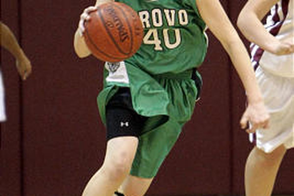Provo's Ashley Kuchar (40) as Provo faces Mountain View in girls basketball action at Mountain View High School in Orem.